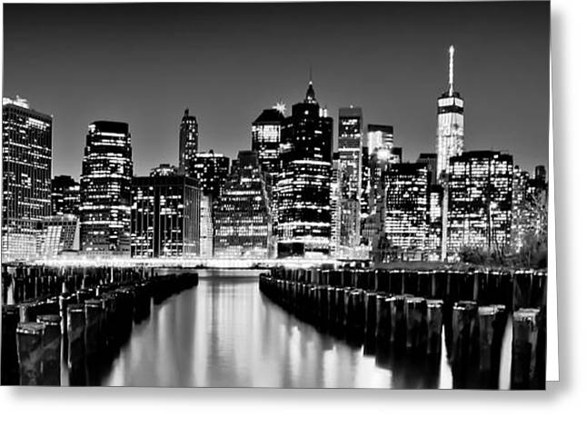 Famous Photographers Greeting Cards - Manhattan Skyline BW Greeting Card by Az Jackson