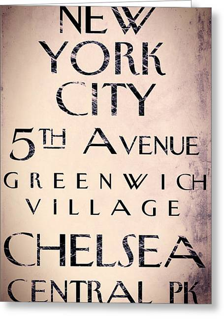 Greenwich Village Greeting Cards - Manhattan Street Sign Greeting Card by Mindy Sommers