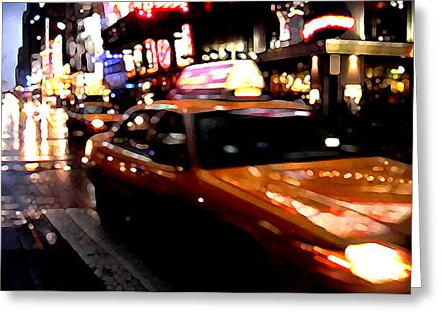 Brushdecor Greeting Cards - Manhattan Taxis Greeting Card by Jose Roldan Rendon