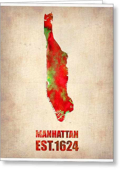 Nyc Posters Greeting Cards - Manhattan Watercolor Map Greeting Card by Naxart Studio