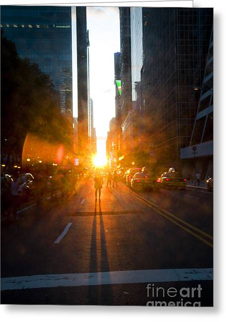 Olia Saunders Greeting Cards - Manhattanhenge New York 2 Greeting Card by Design Remix