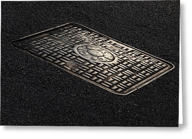 Manhole Greeting Cards - Manhole Cover Late Afternoon 2 Greeting Card by Robert Ullmann