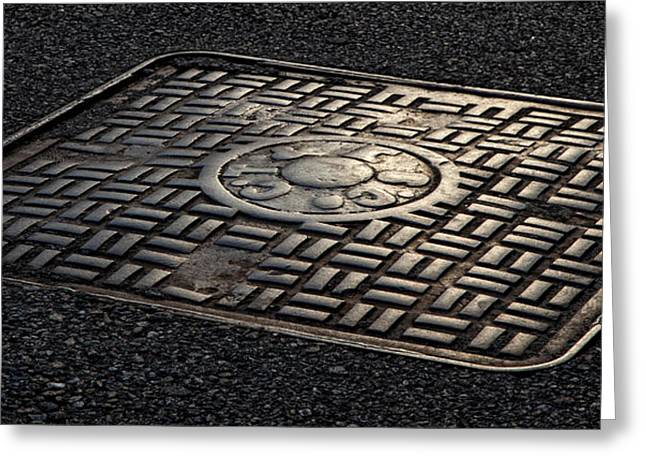 Manhole Greeting Cards - Manhole Cover Late Afternoon Greeting Card by Robert Ullmann