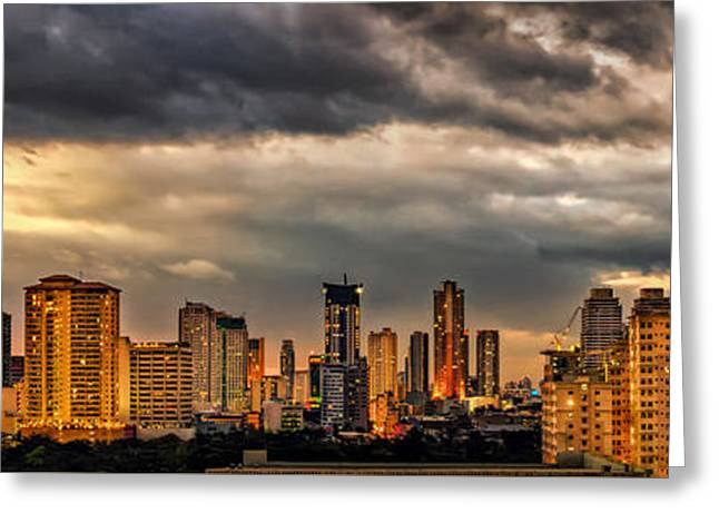 Manila Cityscape Greeting Card by Adrian Evans