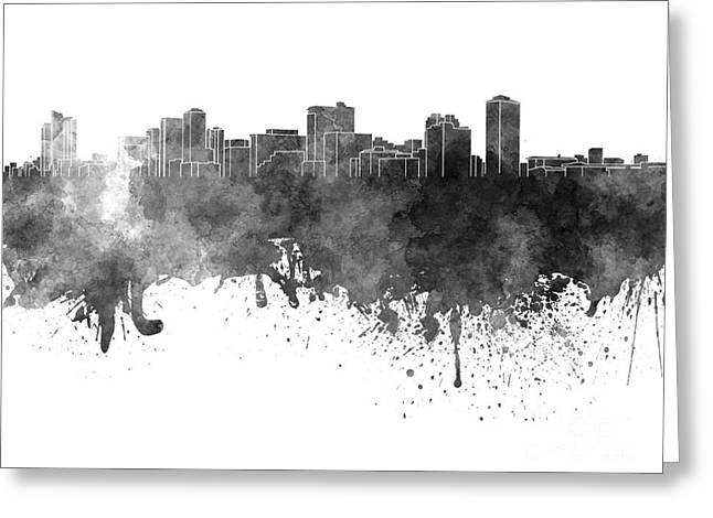 Manila Greeting Cards - Manila skyline in black watercolor on white background Greeting Card by Pablo Romero