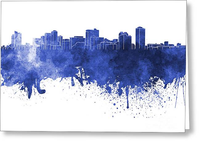 Manila Greeting Cards - Manila skyline in blue watercolor on white background Greeting Card by Pablo Romero