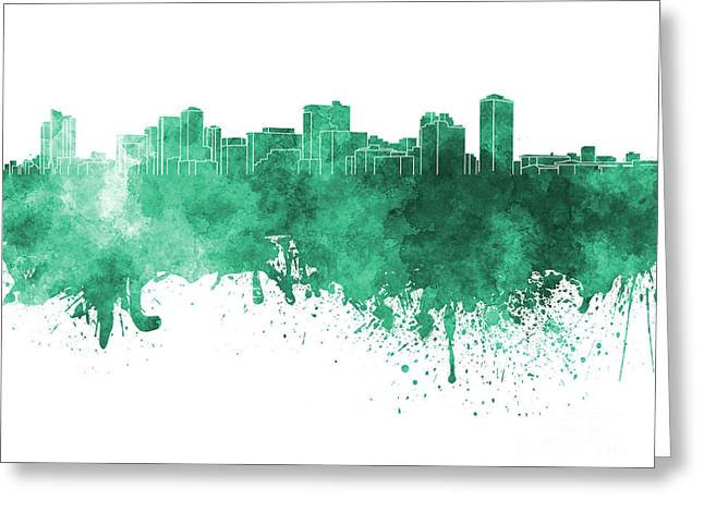Manila Greeting Cards - Manila skyline in green watercolor on white background Greeting Card by Pablo Romero