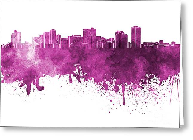 Manila Greeting Cards - Manila skyline in pink watercolor on white background Greeting Card by Pablo Romero