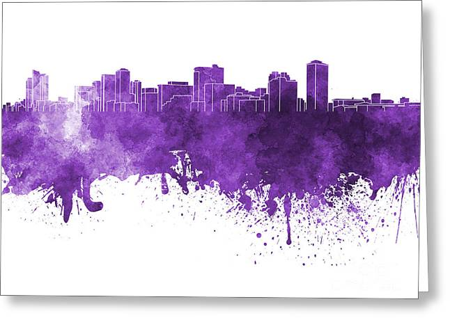 Manila Greeting Cards - Manila skyline in purple watercolor on white background Greeting Card by Pablo Romero