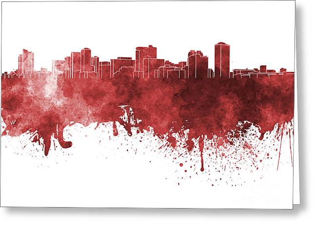 Manila Greeting Cards - Manila skyline in red watercolor on white background Greeting Card by Pablo Romero