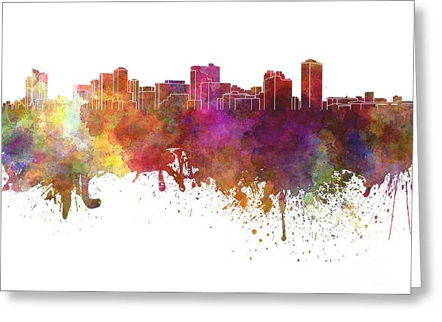 Manila Greeting Cards - Manila skyline in watercolor on white background Greeting Card by Pablo Romero