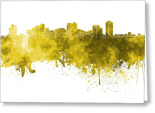 Manila Greeting Cards - Manila skyline in yellow watercolor on white background Greeting Card by Pablo Romero