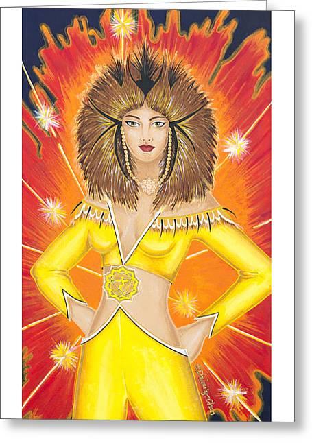 Solar Plexus Chakra Greeting Cards - Manipura Solar Plexus Chakra Goddess Greeting Card by Divinity MonSun Chan
