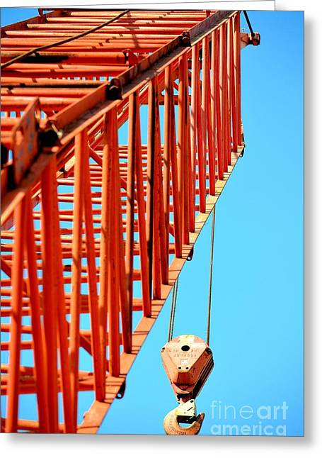 Maria Urso Greeting Cards - Manitowoc Red Boom Block and Hook Greeting Card by Maria Urso