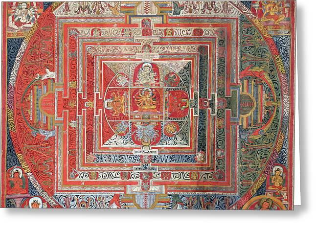 Religious Paintings Greeting Cards - Manjushri Mandala Tibetan Thangka  Greeting Card by Tammy Winand