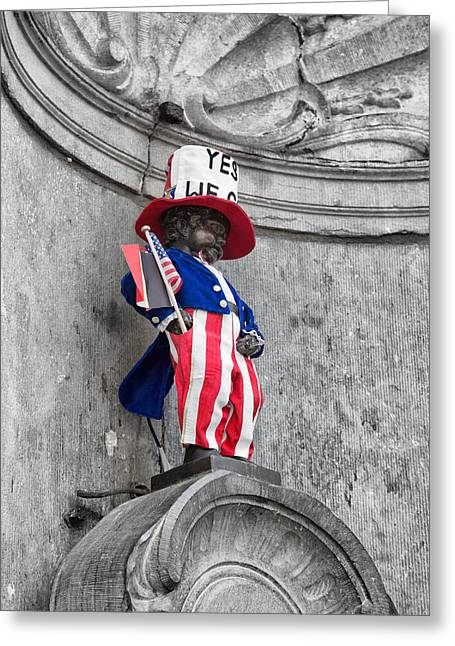 American Independance Photographs Greeting Cards - Manneken Pis on the Fourth of July Greeting Card by Nomad Art And  Design
