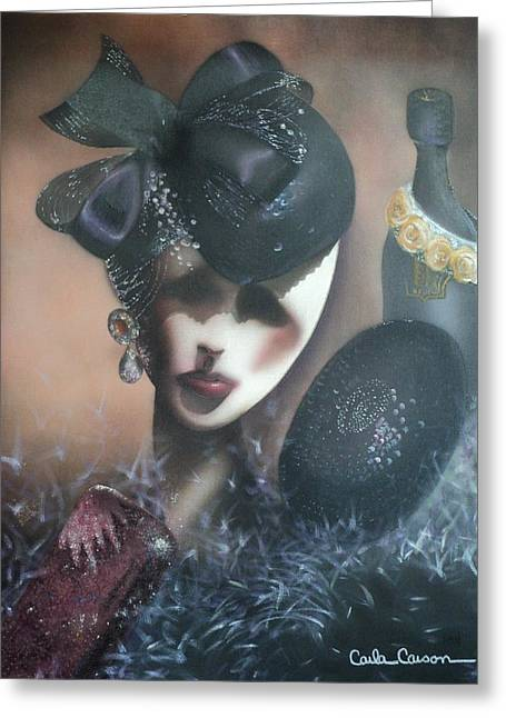 Sparkling Wine Greeting Cards - Mannequin Glitz N Glamour Greeting Card by Carla Carson