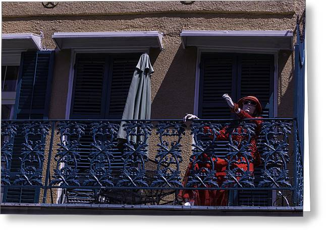 Iron Rail Greeting Cards - Mannequin In Red Dress Greeting Card by Garry Gay
