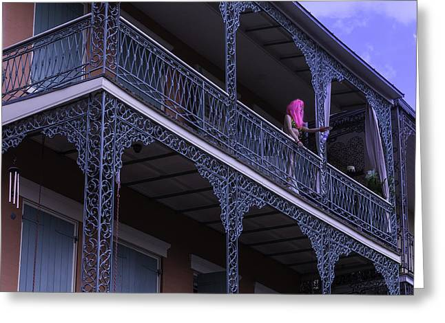 Iron Rail Greeting Cards - Mannequin On Balcony  Greeting Card by Garry Gay