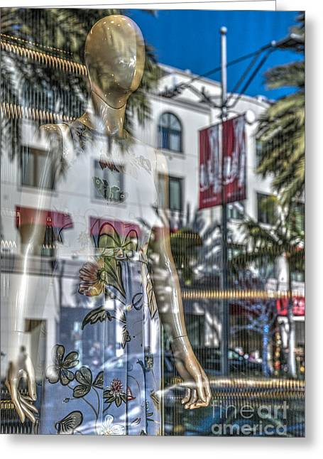 Mannequin Rodeo Drive Beverly Hills Greeting Card by David Zanzinger