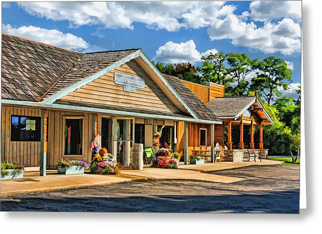 Mann's Mercantile Shops On Washington Island Door County Greeting Card by Christopher Arndt