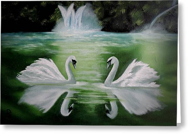 White Paintings Greeting Cards - Manogamy Greeting Card by Dianna Lewis