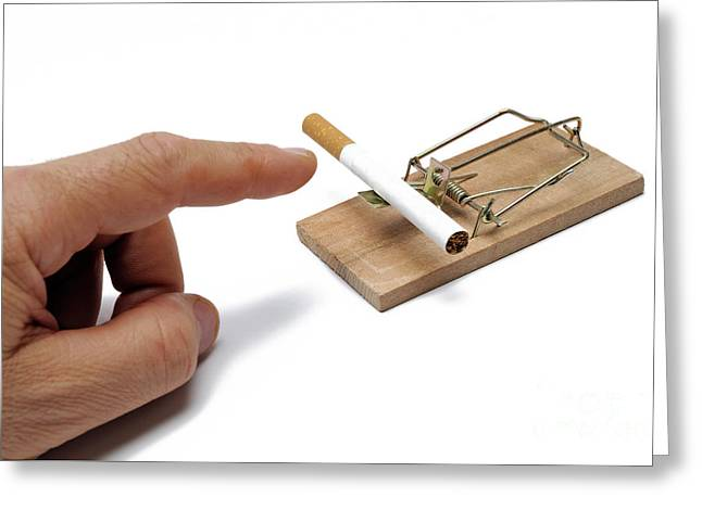One Mature Man Only Greeting Cards - Mans hand about to catch cigarette on mousetrap Greeting Card by Sami Sarkis