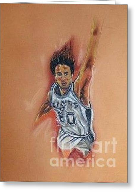 Basketball Pastels Greeting Cards - Manu Ginobli Greeting Card by Americo Salazar