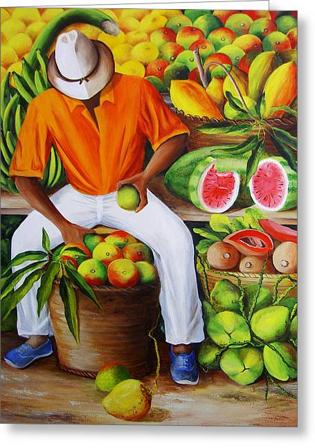 Dominica Alcantara Greeting Cards - Manuel the Caribbean Fruit Vendor  Greeting Card by Dominica Alcantara