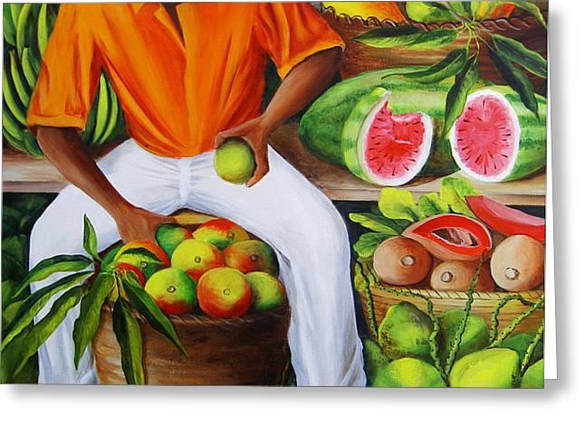 Manuel the Caribbean Fruit Vendor  Greeting Card by Dominica Alcantara