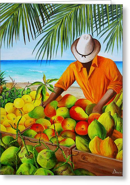 Dominica Alcantara Greeting Cards - Manuel the Fruit Vendor at the Beach Greeting Card by Dominica Alcantara