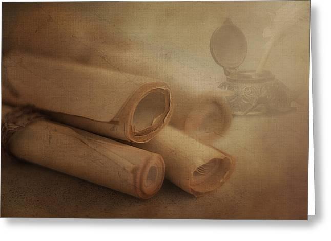 String Art Greeting Card featuring the photograph Manuscript Scrolls Still Life by Tom Mc Nemar