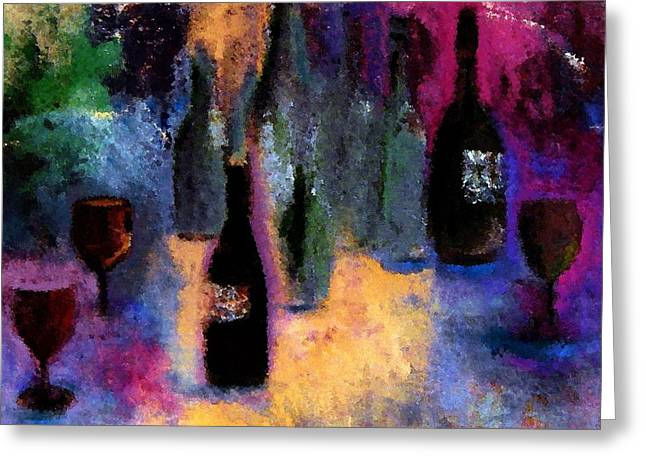 Table Greeting Cards - Many Bottles Of Drunken Cheer Greeting Card by Lisa Kaiser