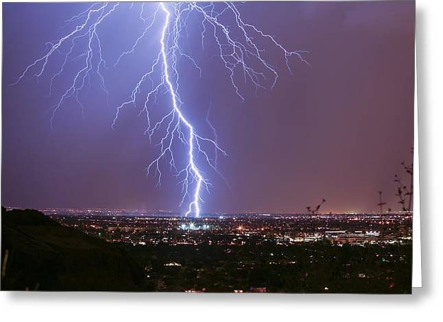 Scottsdale Lightning Greeting Cards - Many Branches Greeting Card by Cathy Franklin
