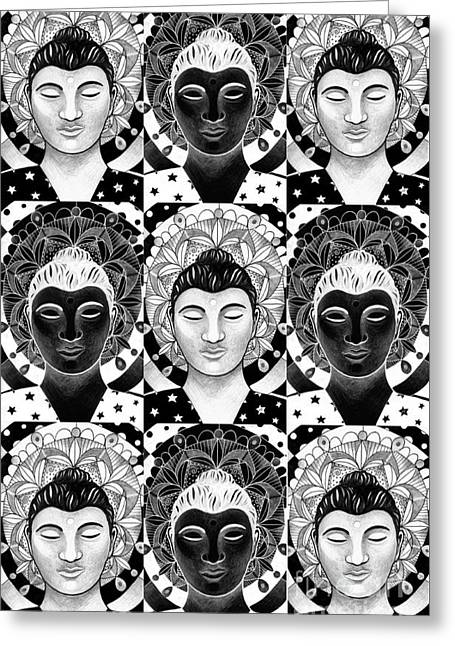 Many Buddhas 1 Greeting Card by Helena Tiainen