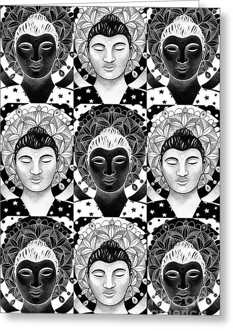 Many Buddhas 2 Greeting Card by Helena Tiainen