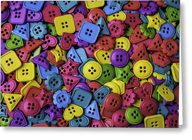 Many Colorful Buttons Greeting Card by Garry Gay