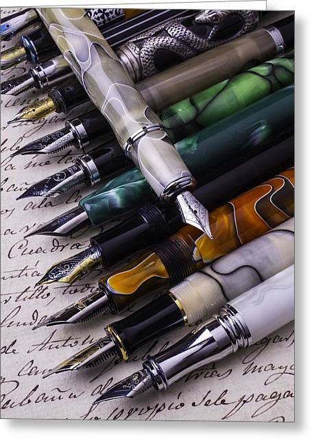 Nib Greeting Cards - Many Fountain Pens Greeting Card by Garry Gay