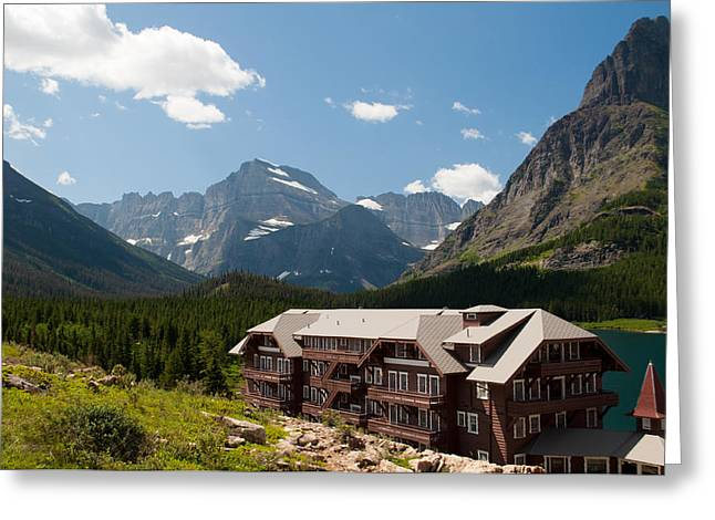 Many Glacier Hotel Greeting Card by Bruce Gourley