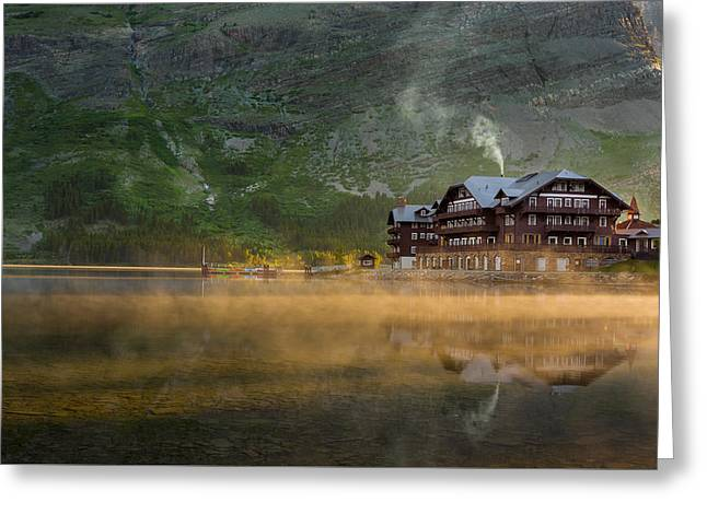 Many Glacier Greeting Cards - Many Glacier Hotel Greeting Card by Steve Gadomski