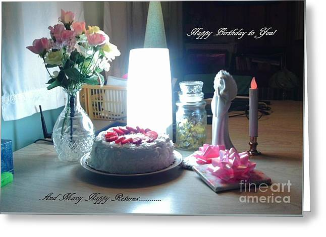 Angel Blues Greeting Cards - Many Happy Returns Greeting Card by Denise Fulmer