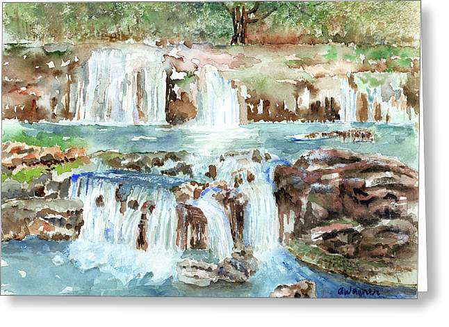 Waterfall Greeting Cards - Many Waterfalls Greeting Card by Arline Wagner