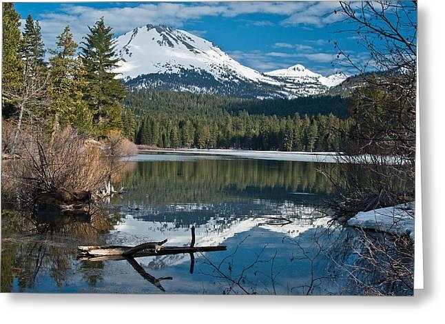 Manzanita Lake Reflects On Mount Lassen Greeting Card by Greg Nyquist