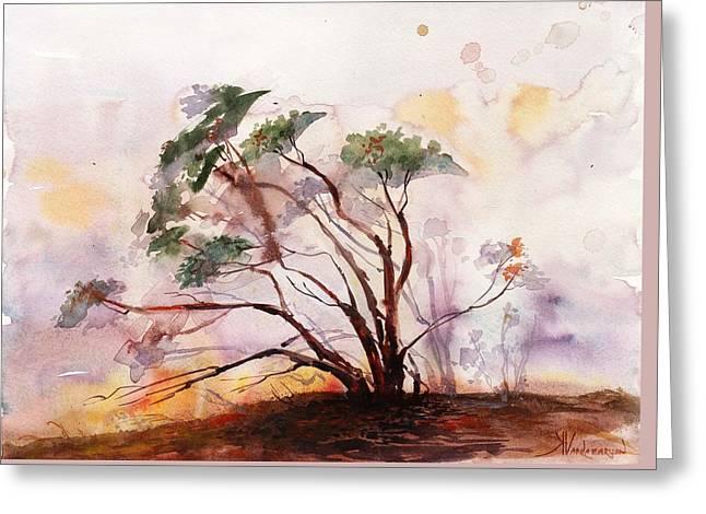 Manzanita Tree Greeting Card by Kristina Vardazaryan