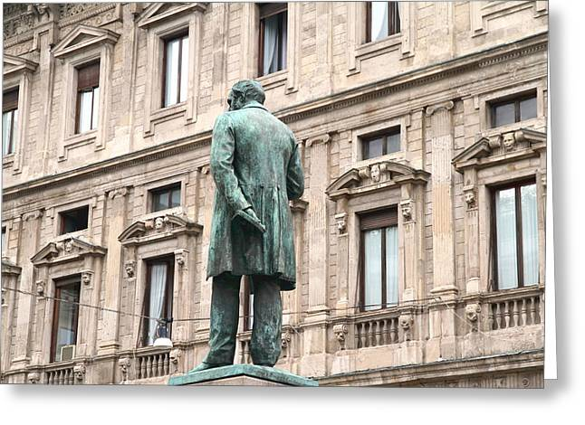 Literate Greeting Cards - Manzoni Statue Greeting Card by Valentino Visentini