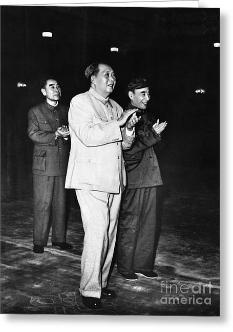 Clapping Greeting Cards - Mao Zedong, Zhou Enlai, & Lin Biao Greeting Card by Audrey Topping