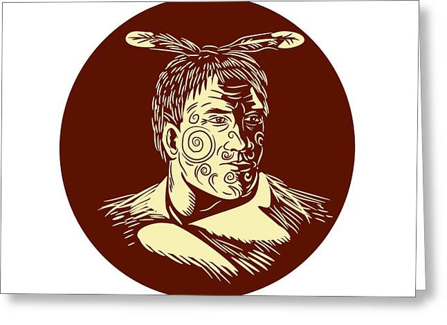 Maori Chieftain Head Oval Woodcut Greeting Card by Aloysius Patrimonio