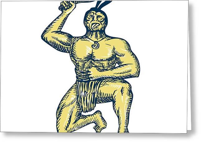 Knelt Digital Greeting Cards - Maori Warrior Wielding Patu Kneeling Etching Greeting Card by Aloysius Patrimonio
