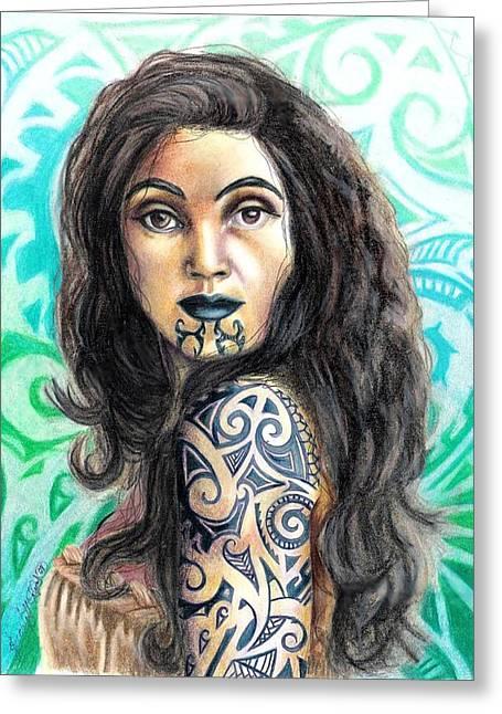 Maori Woman Greeting Card by Scarlett Royal