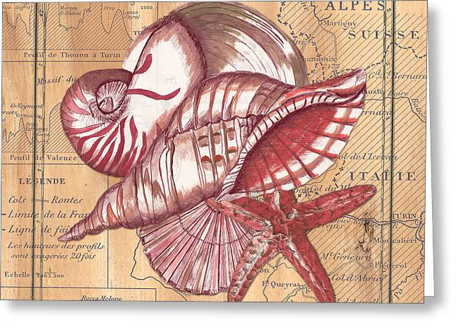Map And Shells Greeting Card by Debbie DeWitt